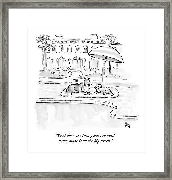 Wealthy Dogs Discuss Cats In Hollywood Framed Print