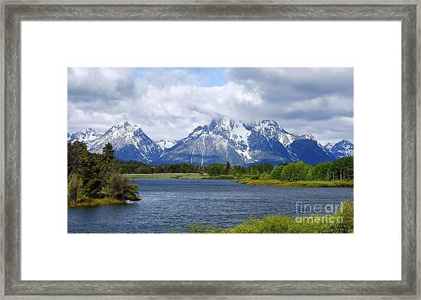Weather On The Teton Mountain Range At Oxbow Bend Framed Print