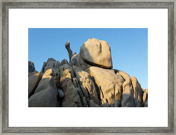 Weathered Granite At Sunset Framed Print