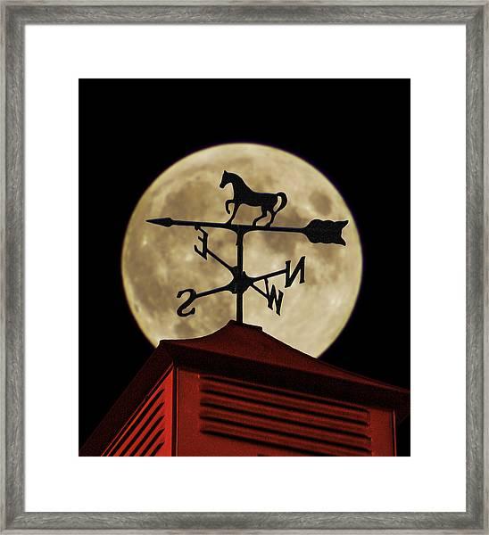 Weathervane Before The Moon Framed Print