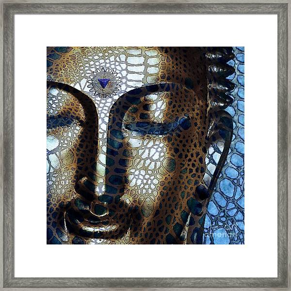 Web Of Dharma - Modern Blue Buddha Art Framed Print