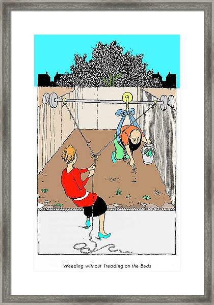 Weeding Without Treading On The Beds By W. Heath Robinson Framed Print by Adam Hart-davis/science Photo Library