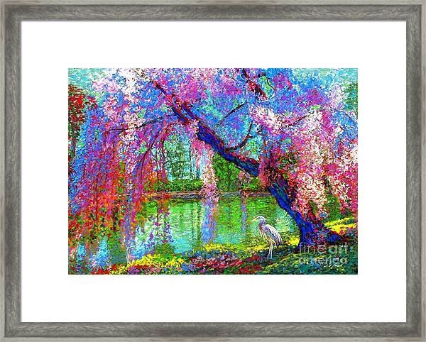 Weeping Beauty, Cherry Blossom Tree And Heron Framed Print