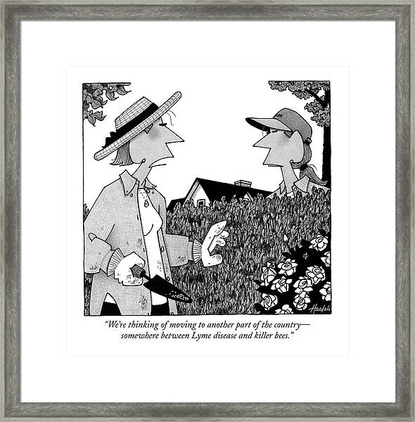 We're Thinking Of Moving To Another Part Framed Print