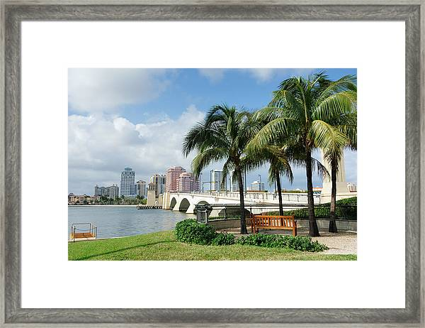 West Palm Beach Cityscape Viewed Across Intracoastal Waterway Framed Print by NoDerog