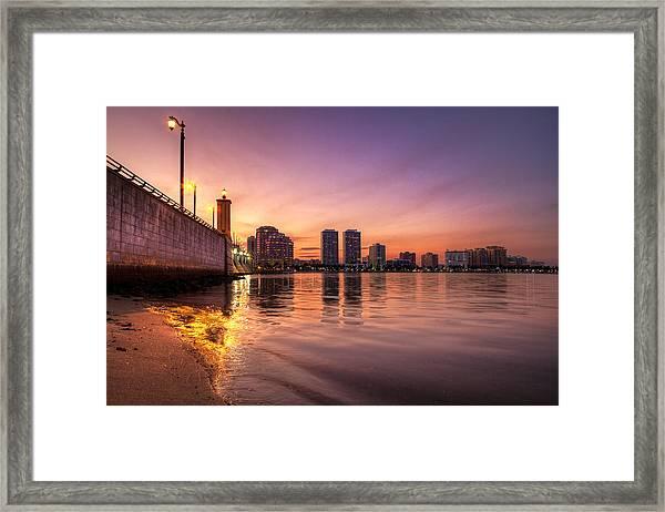 West Palm Beach Skyline At Dusk Framed Print