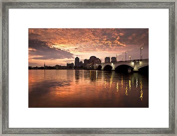 West Palm Beach Skyline At Sunset Framed Print