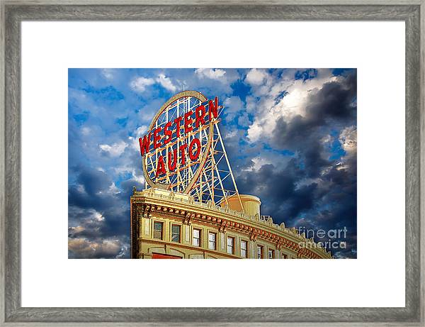 Western Auto Sign Downtown Kansas City Framed Print