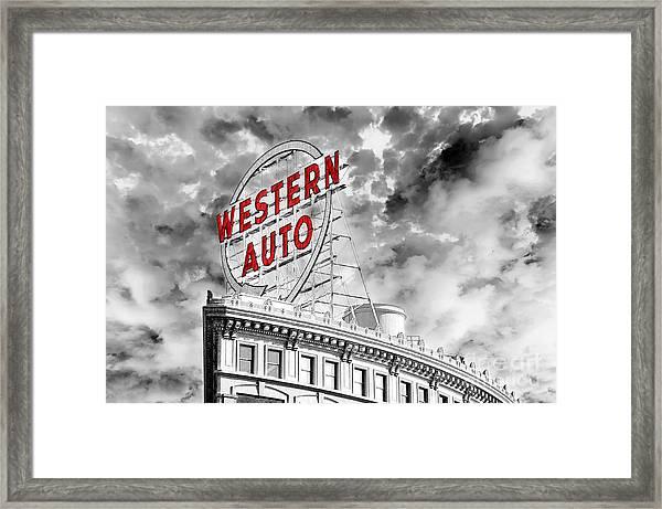 Western Auto Sign Downtown Kansas City B W Framed Print