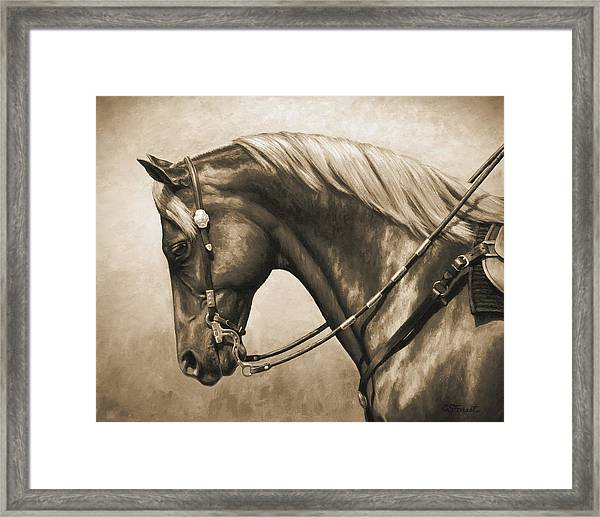 Western Horse Painting In Sepia Framed Print