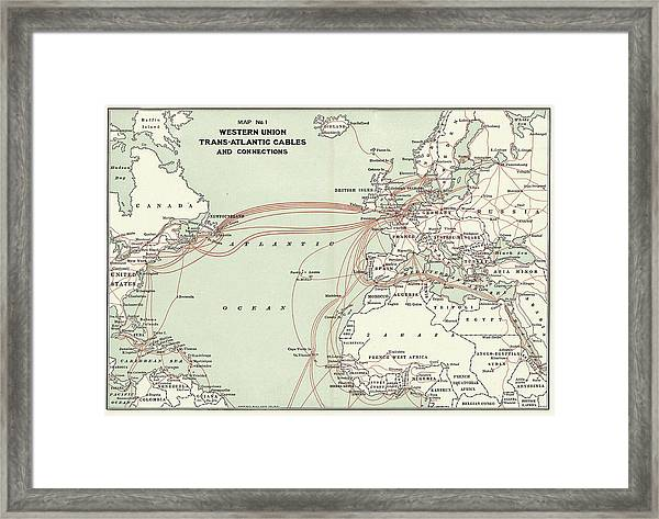 Western Union Transatlantic Cables Framed Print by Library Of Congress, Geography And Map Division