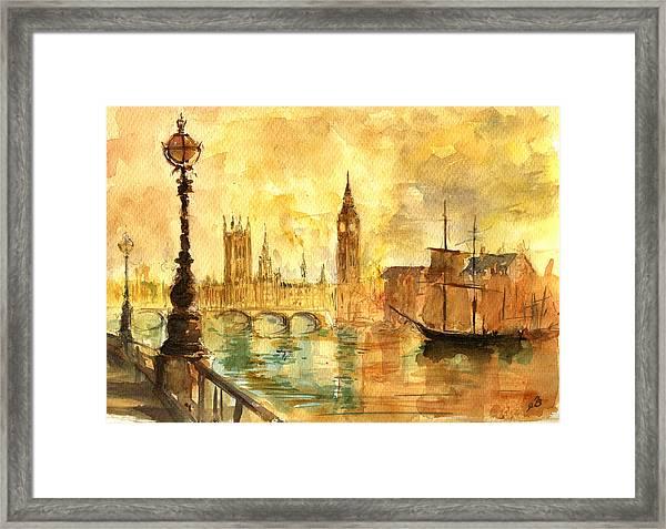 Westminster Palace London Thames Framed Print