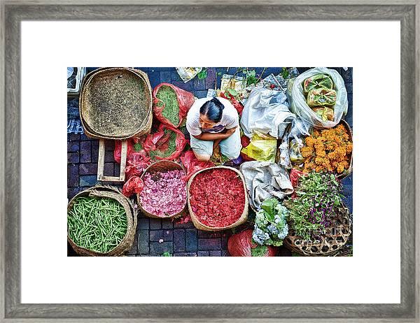 Wet Market In Ubud Framed Print