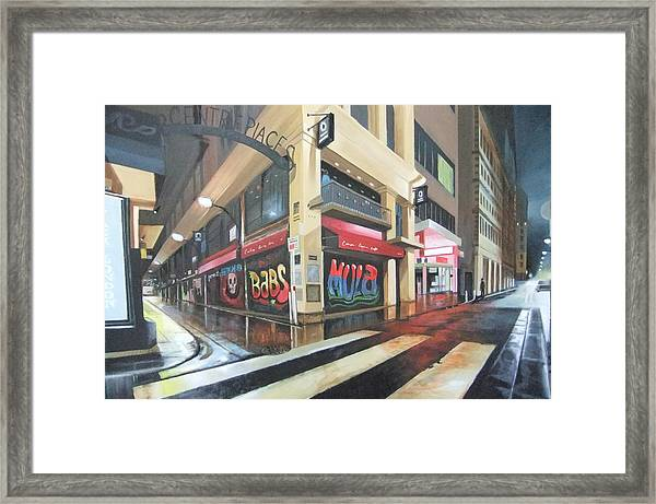 Wet Night In Melbourne Framed Print by Clive Holden