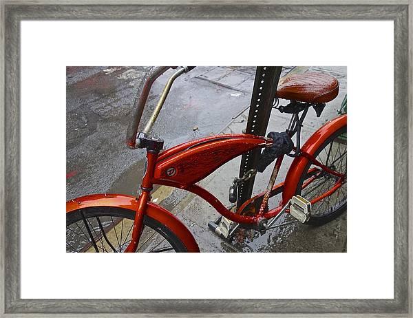 Wet Orange Bike   Nyc Framed Print