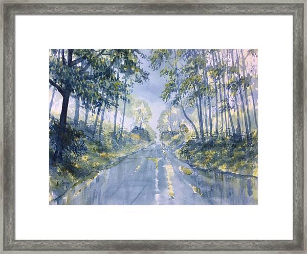 Wet Road In Woldgate Framed Print