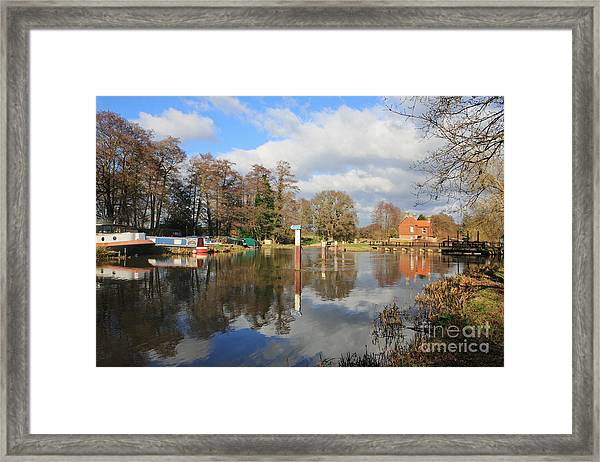 Wey Canal Surrey England Uk Framed Print