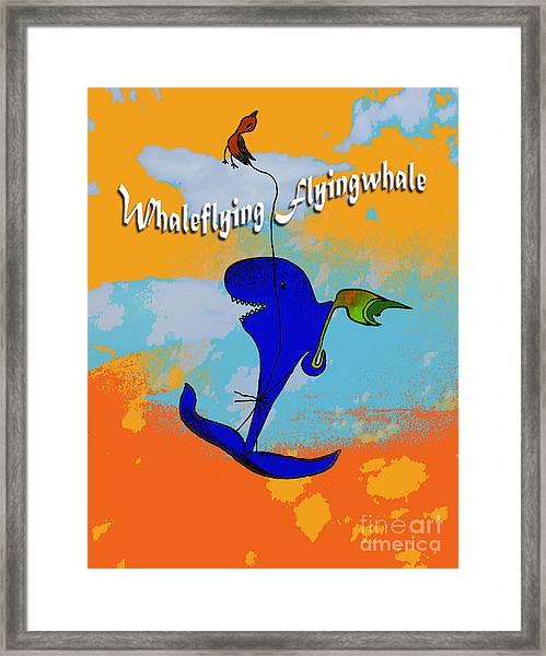 Whale Flying Flying Whale Framed Print