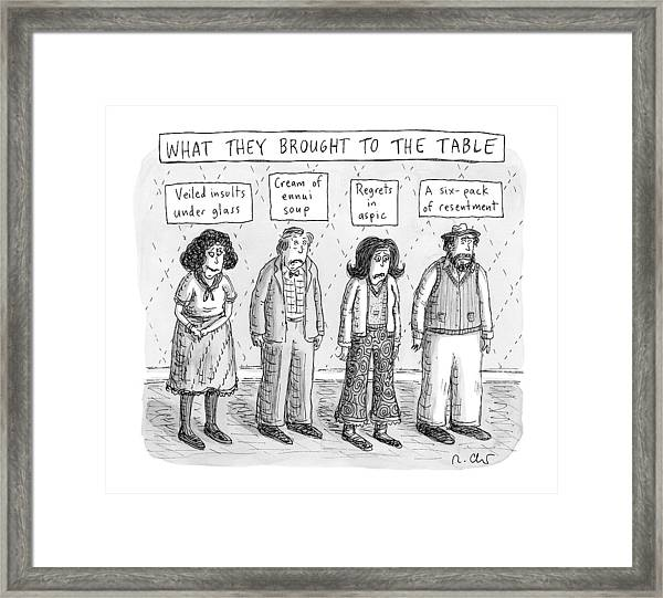 What They Brought To The Table -- A Line Framed Print