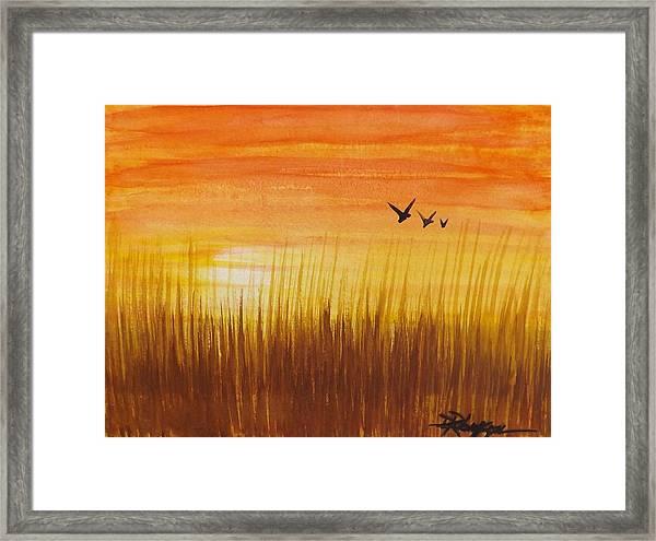 Wheatfield At Sunset Framed Print