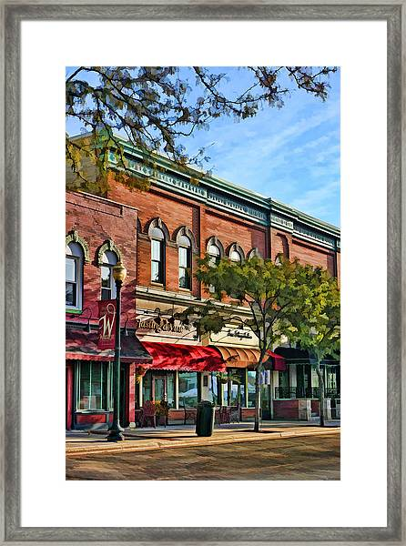 Wheaton Front Street Stores Framed Print