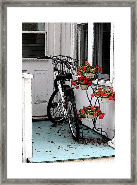 Wheels And Flowers Framed Print