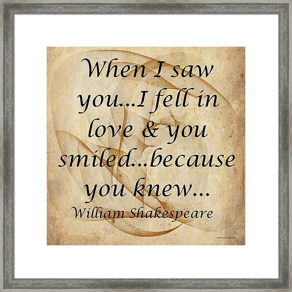When I Saw You Framed Print