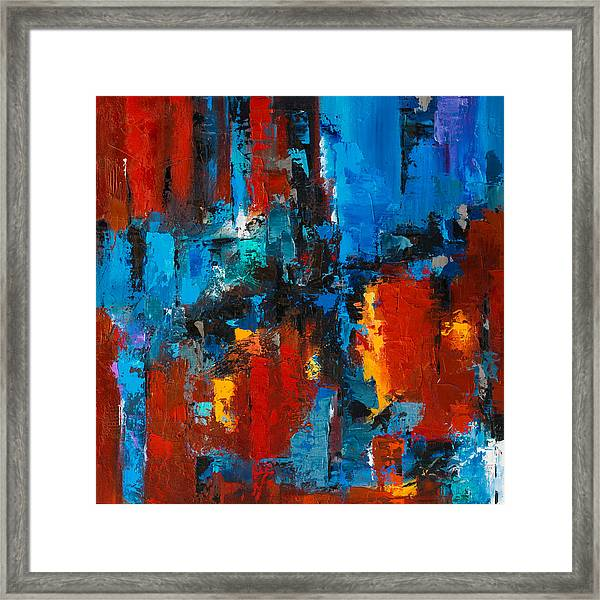 Framed Print featuring the painting When Red And Blue Meet by Elise Palmigiani