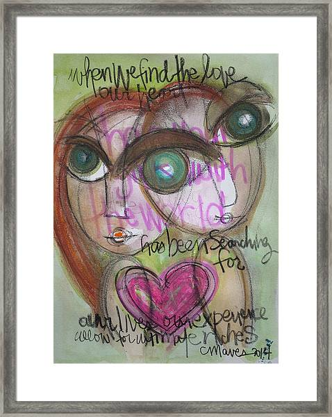 Framed Print featuring the painting When We Find Love by Laurie Maves ART