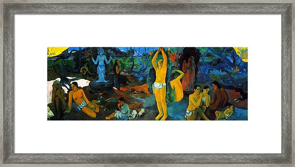 Framed Print featuring the painting Where Do We Come From. What Are We Doing. Where Are We Going by Paul Gauguin