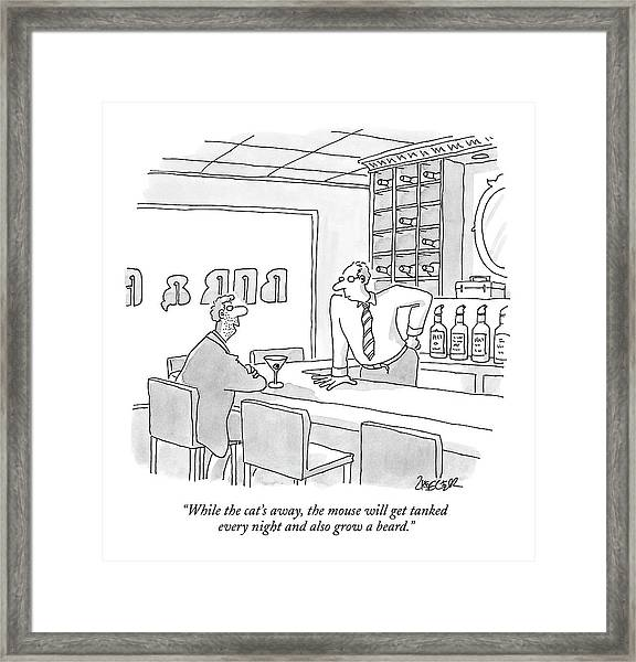 While The Cat's Away Framed Print