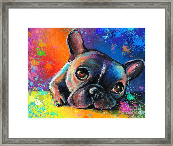 Whimsical Colorful French Bulldog  Framed Print