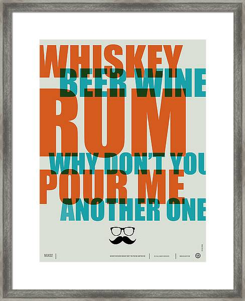 Whiskey Beer And Wine Poster Framed Print