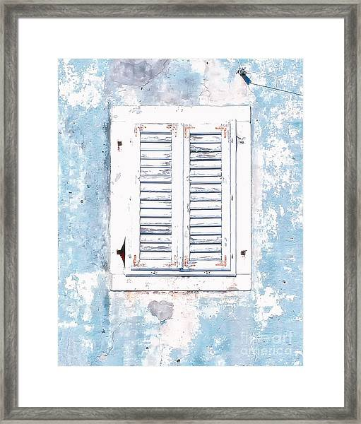 White And Blue Window Framed Print