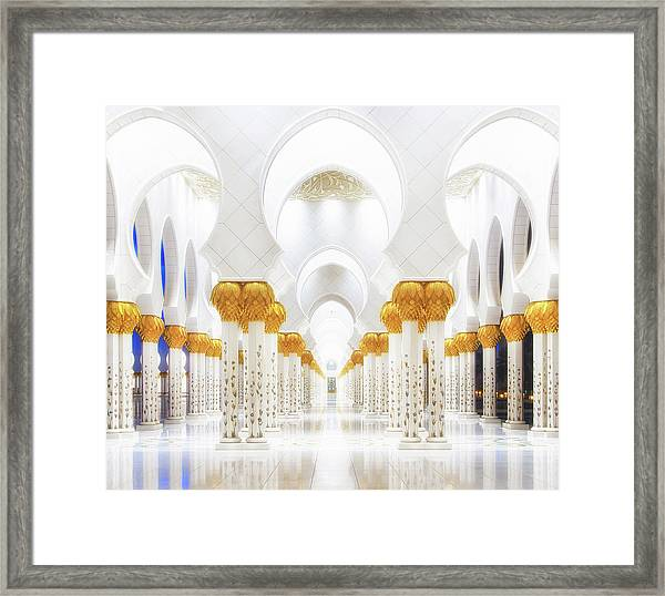 White And Gold Framed Print by Mohamed Raof