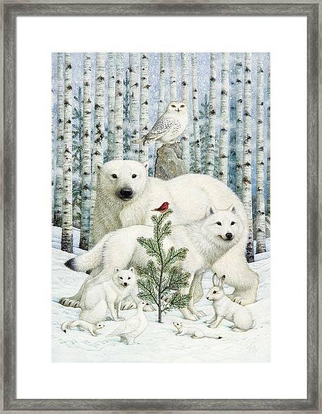 White Animals Red Bird Framed Print