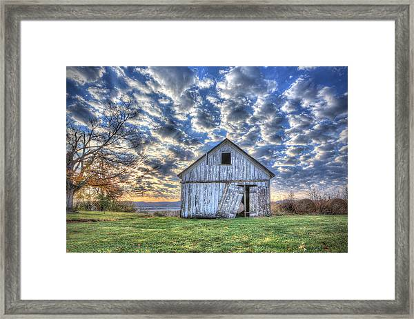 White Barn At Sunrise Framed Print