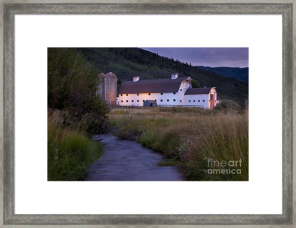 Framed Print featuring the photograph White Barn by Brian Jannsen