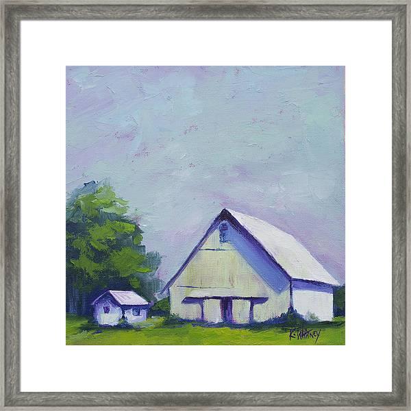 White Barn Framed Print