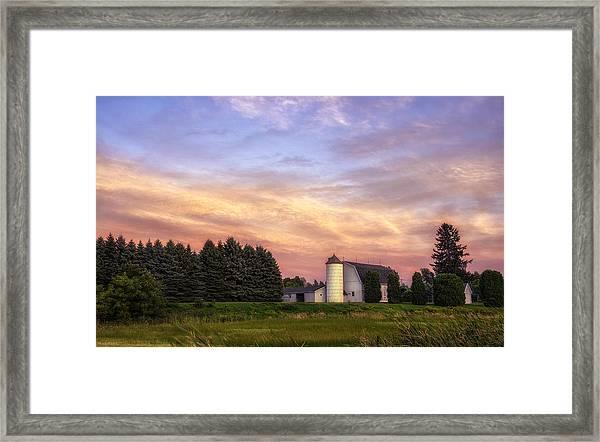 White Barn Sunset Framed Print