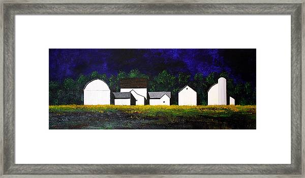 White Barns Framed Print