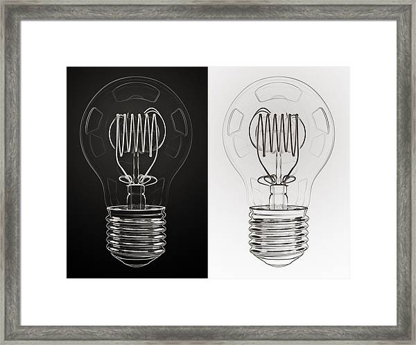 White Bulb Black Bulb Framed Print