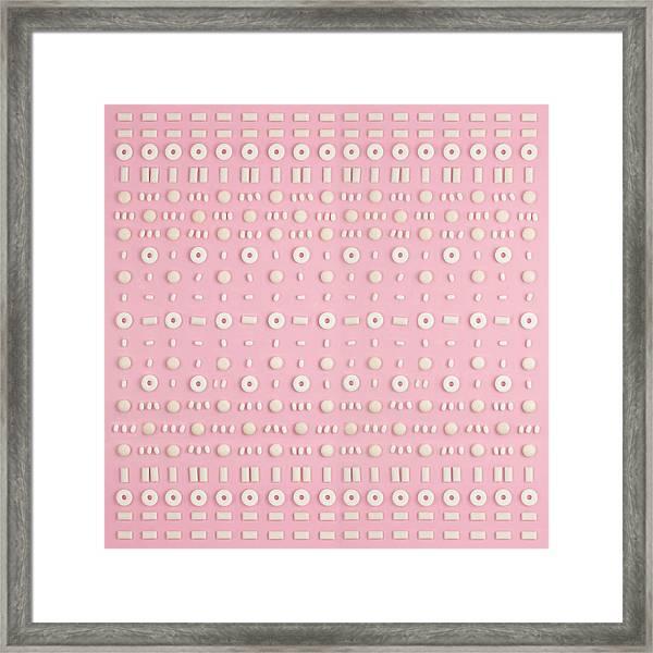 White Candies Arranged In A Pattern Framed Print by Juj Winn