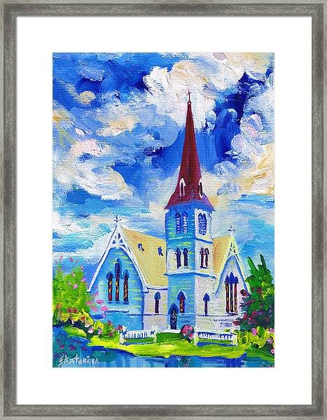 White Church Blue Sky Framed Print