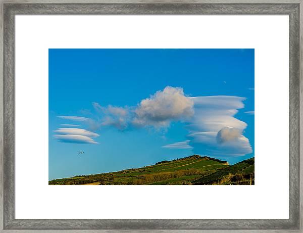 White Clouds Form Tornado Framed Print