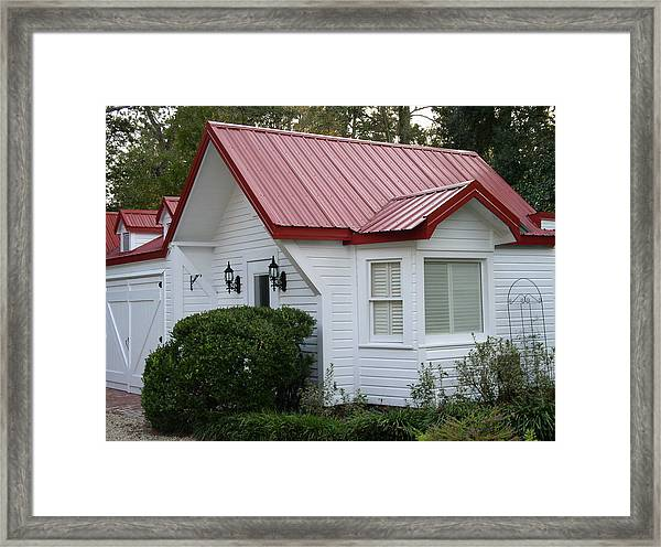 White Cottage Red Roof In Moultrie Georgia 2004 Framed Print