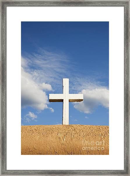 White Cross On Adobe Wall Framed Print