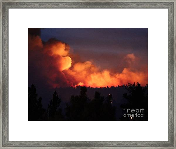 White Draw Fire First Night Framed Print