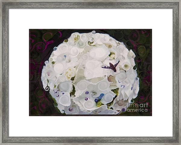 White Flower And Friendly Bee Mixed Media Painting Framed Print