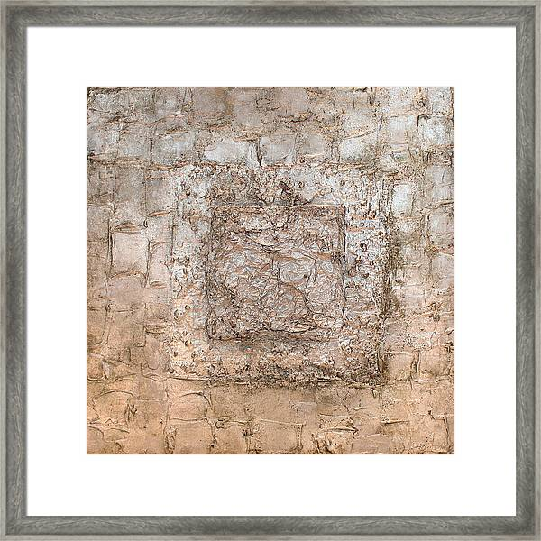 White Gold Mixed Media Triptych Part 2 Framed Print
